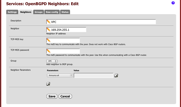 pfSense Services OpenBGPD Neighbors 3