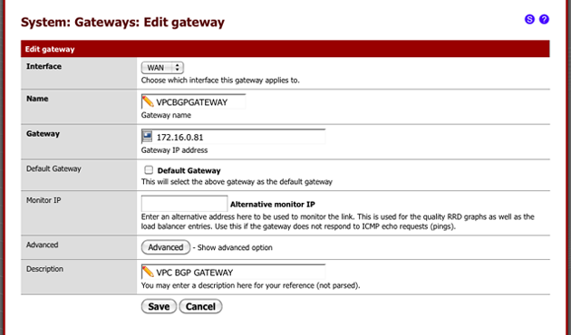 pfSense Amazon VPC BGP Gateway